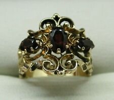 Vintage 9 Carat Gold Large Ornate Three Stone Garnet Dress Ring Size L
