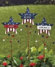 Patriotic Ornaments God Bless America Red White Blue Garden Lawn Metal 3 Stakes