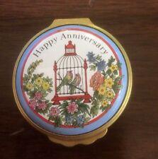 "Halcyon Days ""Happy Anniversary"" Trinket Box w/ Bird in Cage"