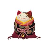 Hucha Gato Japones Kimono Negro 9cm Porcelana Del Japón Maneki Neko 40578