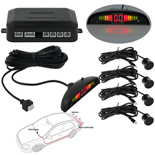 4 Parking Sensors LCD LED Display Car Reverse Radar System Alarm Kit Black