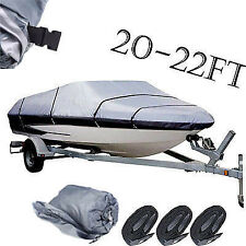 20-22ft 210D Boat Cover Fishing Ski Bass V-hull Speedboat Waterproof 20 21 22