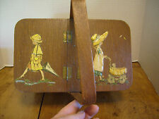 Vintage Handpainted Wood Basket purse Pocketbook w/ girls & umbrella   RB-3b