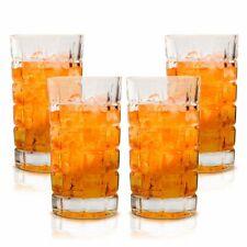 Tall Highball Glasses Set of 4 Ultra Fine Crystal Textured Glass Designer 14.5OZ