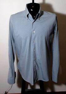 Men's SISLEY Italy Gray  Long Sleeve Button Dress Shirt Size XL