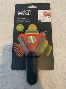 Joseph Joseph Tri-Peeler, 3-in-1 Peeler- Orange/Grey
