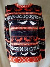 J Crew Farmyard Fair Isle Sweater XS Navy Orange Cats Birds Wool Angora So Cute