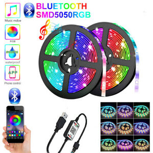 1-5M LED Strip Light 5050 RGB App Bluetooth Télécommande Bande de lampe flexi UV