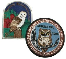 Barn Screech Owl Pennsylvania Game Commission Conservation Patches 2pc Lot New