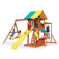 KidKraft Hazelwood Wooden Outdoor Backyard Kids Playground Swing Set Playset
