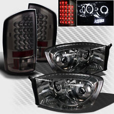 For Smoked 07-08 Dodge Ram Halo LED Pro Headlights Lights+LED Tail Head Lights