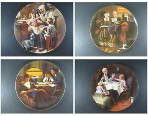 Norman Rockwell porcelain plates by Edwin M. Knowles Lot of 4 Collector's Plates