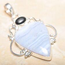 "Handmade Botswana Agate Onyx Jasper 925 Sterling Silver Pendant 2.75"" #P15192"