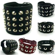 Studs Bracelet 1-4 Strands Black Leather Gothic Biker Punk Red Pointed Rivets