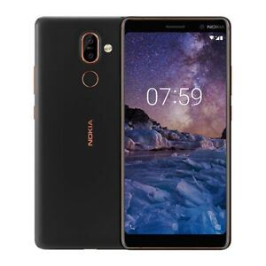 "Nokia 7 Plus 6"" 13MP 64GB unlocked Smartphone -Black /Copper A Grade"