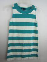 Gap Kids Girls Sz 10 Teal & White Stripe A-line Dress Sleeveless