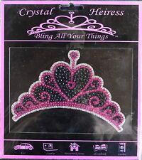 Crystal Heiress Heart Princess Tiara Crown Sticker Decal Laptop Locker Bling 6x4