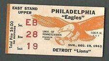 Philadelphia Eagles Vs. Detroit Lions Ticket Stub December 19th, 1965 123954