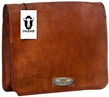 Brown Vintage Leather Men's Laptop Comfortable Shoulder Satchel Messenger Bag