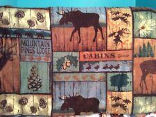 """Deer Bear moose elk duck pine cone cabin mountain lodge fleece fabric, 60""""w, BTY"""