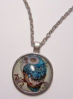 OWL Bird Design Cabochon Pendant Necklace w/ Chain Unique Jewelry Gift