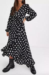 New Look maxi Dress Size 12 Polka Dot / Spot Print / Long sleeve BRAND NEW