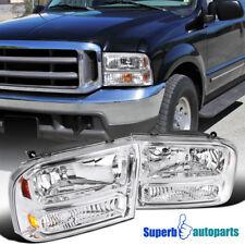 99-04 Ford F250 F350 F450 Super Duty Chrome 1PC Style Headlights w/ Bumper Lamp