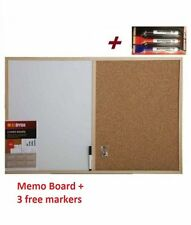 CORK PIN AND WHITE BOARD MEMO NOTICE KITCHEN OFFICE WITH 3 MARKERS
