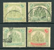 Old F.M.S. Malaya 3 x $1 + $2  Elephant stamps Used