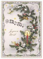 1959 Con Brillo Tarjeta Postal Navidad Decoraciones Rigo Musical Navidad Noel