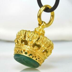 Gold Vermeil Sterling Silver Chalcedony Fob Seal Stamp Crown Pendant 11.55 g