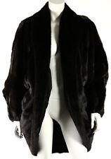 YVES SAINT LAURENT Vintage Brown Ranch Mink Fur Shawl Collar Cocoon Coat