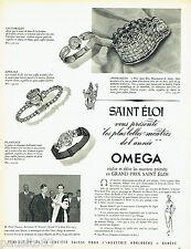 PUBLICITE ADVERTISING 026 1954  Omega  montre  Grand Prix St Eloi