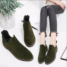 Womens Ankle Boots British Suede Back Zip Casual Shoes Knight Shoes Sz 35-43 V65