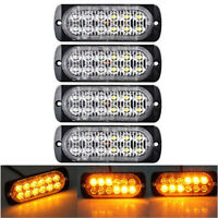 4X 12LED Amber Light Emergency Warning Strobe Flashing Car Truck Bar Grill Lamp