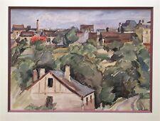 Rageade André aquarelle et encre signée paysage campagne village France