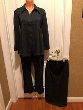 Macy's STEENA Maternity Gray Ponte Knit 3pc Blazer Pant Skirt Suit Size S