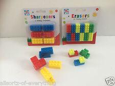 18 x Novelty Pencil sharpener & 18 x Eraser - Lego Brick  party bag filler