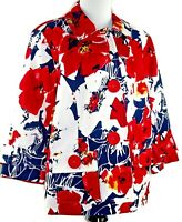 Coldwater Creek Sz 18W Women's Button Front 3/4 Sleeve Red White Floral Jacket