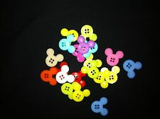 Mickey Mouse Rainbow Plastic Buttons/ Four holes /Sewing supplies / 10 Buttons