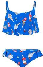 c3456f9586729 Monsoon Evie Frill Girls Bikini Age 7-8 Blue Floral Ice Cream Bnwt H 122
