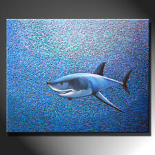 Original Painting Canvas White Shark Shadow Contemporary Underwater GeeBeeArt