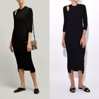JOSEPH UK Fashion Norma Rib Knit Midi Dress in Black Effortless Chic NEW $565