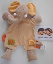 Doudou peluche MOULIN ROTY LES LOUSTICS ELEPHANT PLAT BEIGE JAUNE 30 cm- D605