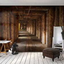 VLIES FOTOTAPETE Holz Tunnel braun 3D effekt TAPETE Schlafzimmer WANDBILDER XXL