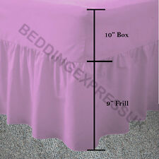 Polycotton Dyed Frilled Fitted Valance Sheets Available in 4 Standard Sizes