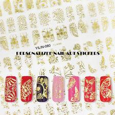 1 Sheet 108pcs Designs 3D Gold Color Nail Decals Gel Polish Nail Art Stickers A