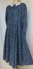 Laura Ashley Kleid 42 blau Blumen Spitzenkragen vintage Baumwolle langarm