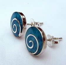 Pair Of Sterling Silver 925  Sky  Blue  Spiral  Ear Studs  !!    Brand  New  !!