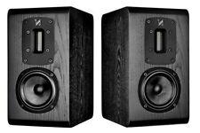 Quad S1 Speakers - Bookshelf Loudspeakers Black Oak PAIR - Ribbon Tweeter S-1